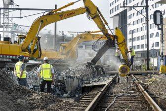Spoorwerkzaamheden, baanwerkers, rails