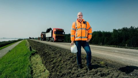Flevowegen asfalteren. Foto: provincie Flevoland